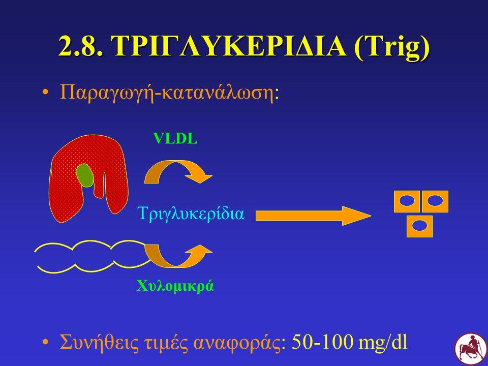 2.8. ΤΡΙΓΛΥΚΕΡΙΔΙΑ (Trig) Παραγωγή-κατανάλωση: Συνήθεις τιμές αναφοράς: 50-100 mg/dl Τριγλυκερίδια Χυλομικρά VLDL