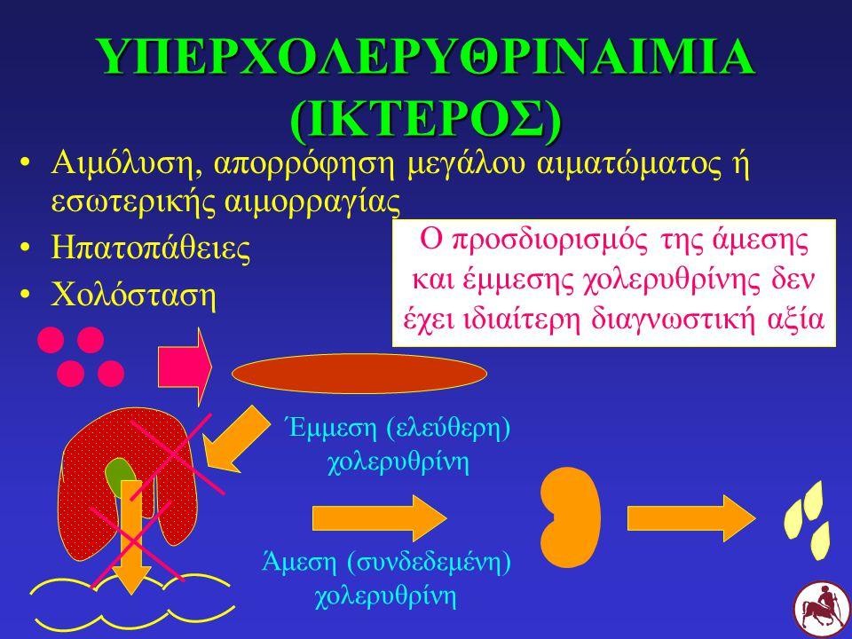 ΥΠΕΡΧΟΛΕΡΥΘΡΙΝΑΙΜΙΑ (ΙΚΤΕΡΟΣ) Αιμόλυση, απορρόφηση μεγάλου αιματώματος ή εσωτερικής αιμορραγίας Ηπατοπάθειες Χολόσταση Έμμεση (ελεύθερη) χολερυθρίνη Άμεση (συνδεδεμένη) χολερυθρίνη Ο προσδιορισμός της άμεσης και έμμεσης χολερυθρίνης δεν έχει ιδιαίτερη διαγνωστική αξία