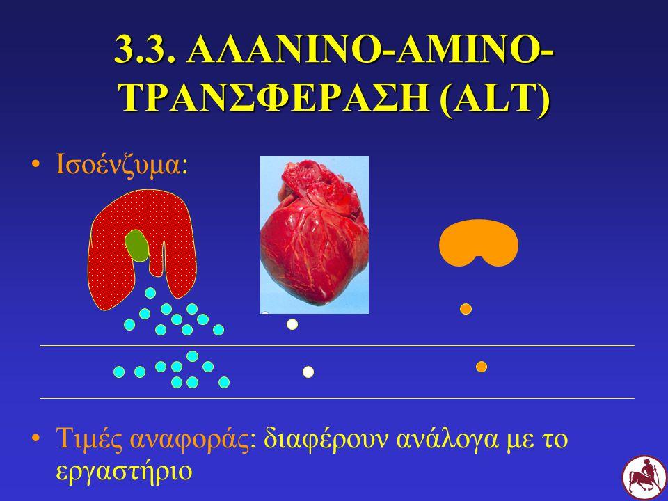 3.3. ΑΛΑΝΙΝΟ-ΑΜΙΝΟ- ΤΡΑΝΣΦΕΡΑΣΗ (ALT) Ισοένζυμα: Τιμές αναφοράς: διαφέρουν ανάλογα με το εργαστήριο