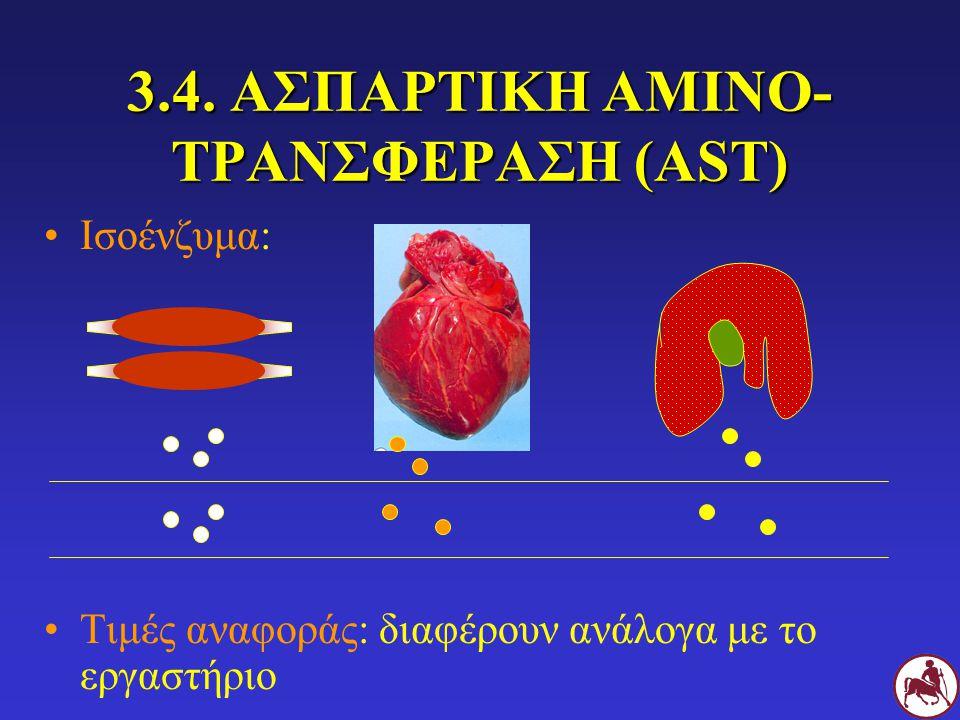 3.4. ΑΣΠΑΡΤΙΚΗ ΑΜΙΝΟ- ΤΡΑΝΣΦΕΡΑΣΗ (AST) Ισοένζυμα: Τιμές αναφοράς: διαφέρουν ανάλογα με το εργαστήριο