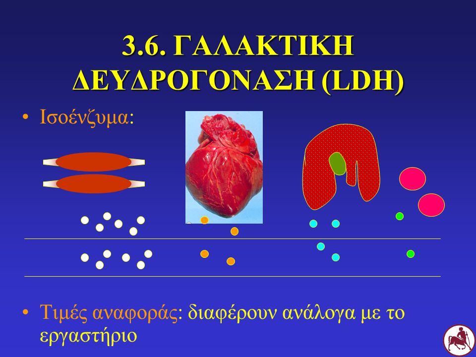 3.6. ΓΑΛΑΚΤΙΚΗ ΔΕΥΔΡΟΓΟΝΑΣΗ (LDH) Ισοένζυμα: Τιμές αναφοράς: διαφέρουν ανάλογα με το εργαστήριο