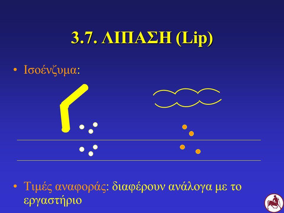 3.7. ΛΙΠΑΣΗ (Lip) Ισοένζυμα: Τιμές αναφοράς: διαφέρουν ανάλογα με το εργαστήριο
