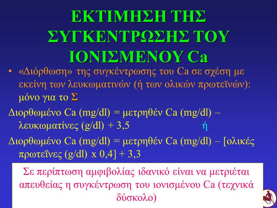 ΕΚΤΙΜΗΣΗ ΤΗΣ ΣΥΓΚΕΝΤΡΩΣΗΣ ΤΟΥ ΙΟΝΙΣΜΕΝΟΥ Ca Σ«Διόρθωση» της συγκέντρωσης του Ca σε σχέση με εκείνη των λευκωματινών (ή των ολικών πρωτεϊνών): μόνο για το Σ Διορθωμένο Ca (mg/dl) = μετρηθέν Ca (mg/dl) – λευκωματίνες (g/dl) + 3,5ή Διορθωμένο Ca (mg/dl) = μετρηθέν Ca (mg/dl) – [ολικές πρωτεΐνες (g/dl) x 0,4] + 3,3 Σε περίπτωση αμφιβολίας ιδανικό είναι να μετριέται απευθείας η συγκέντρωση του ιονισμένου Ca (τεχνικά δύσκολο)