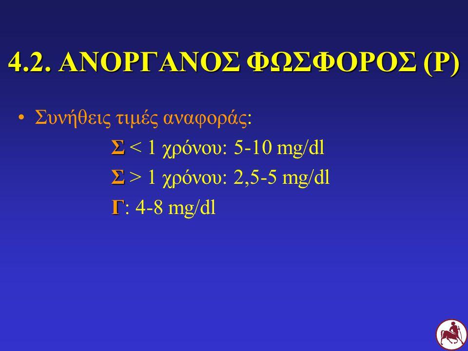 4.2. ΑΝΟΡΓΑΝΟΣ ΦΩΣΦΟΡΟΣ (Ρ) Συνήθεις τιμές αναφοράς: Σ Σ < 1 χρόνου: 5-10 mg/dl Σ Σ > 1 χρόνου: 2,5-5 mg/dl Γ Γ: 4-8 mg/dl