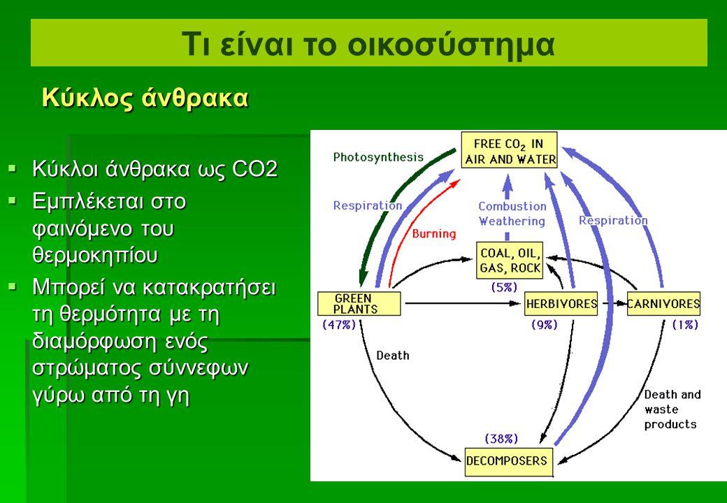 Ανακύκλωση των υλικών –Βιογεωχημικές διαβάσεις –Οι κύκλοι οξυγόνου και άνθρακα: Οξυγόνο Φωτοσύνθεση Καύση Διοξείδιο του άνθρακα Αναπνοή (Φυτά και ζώα) Νεκροί οργανισμοί Αναπνοή (Αποικοδομητές) Τι είναι το οικοσύστημα