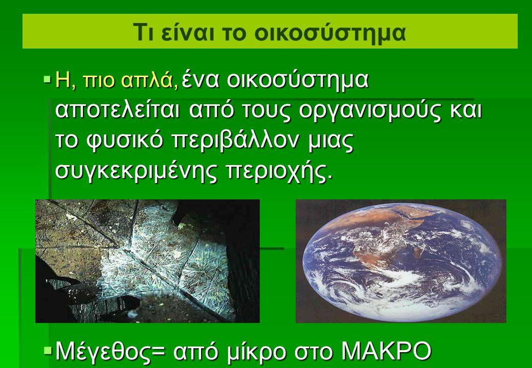  Σύστημα = αλληλοεξαρτώμενα μέρη τα οποία συνεχώς αλληλεπιδρούν, διαμορφώνοντας ένα ενοποιημένο σύνολο  Οικοσύστημα = ένα οικολογικό σύστημα. Μια κο