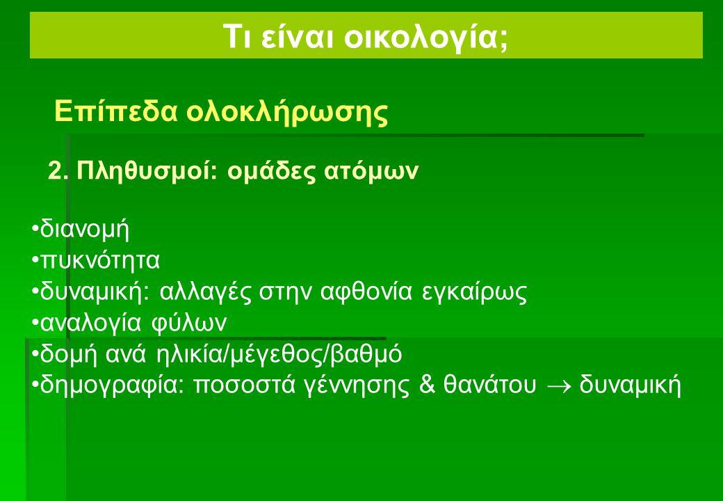 Γενικός στόχος: Τι είναι οικολογία; Επίπεδα ολοκλήρωσης 1. Άτομο/ολόκληρος οργανισμός: Συμπεριφοριστική & φυσιολογική οικολογία Λειτουργική μορφολογία