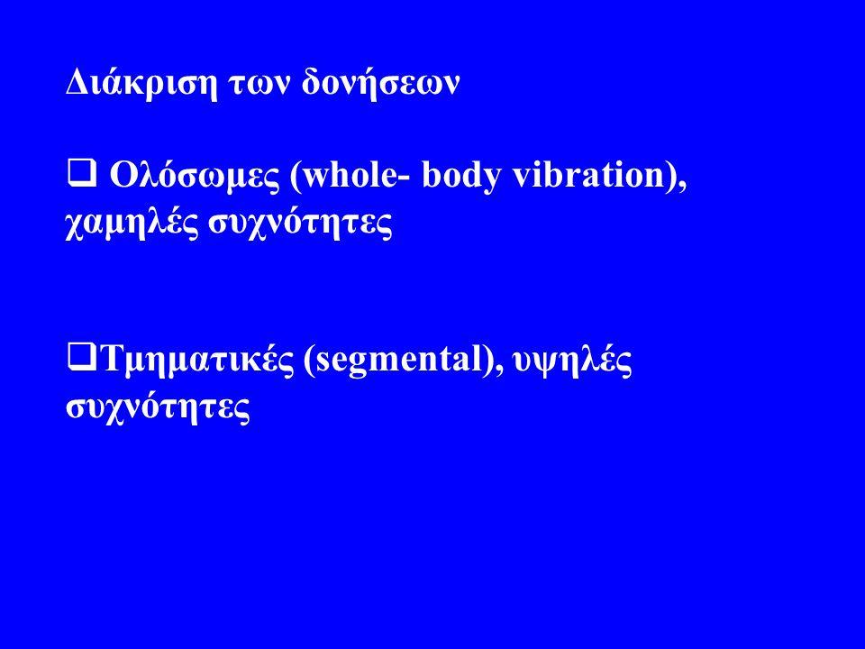 Διάκριση των δονήσεων  Ολόσωμες (whole- body vibration), χαμηλές συχνότητες  Τμηματικές (segmental), υψηλές συχνότητες