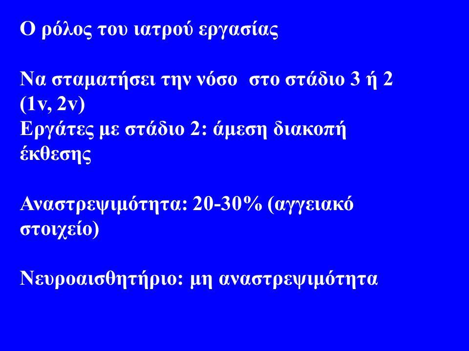 Ο ρόλος του ιατρού εργασίας Να σταματήσει την νόσο στο στάδιο 3 ή 2 (1v, 2v) Εργάτες με στάδιο 2: άμεση διακοπή έκθεσης Αναστρεψιμότητα: 20-30% (αγγειακό στοιχείο) Νευροαισθητήριο: μη αναστρεψιμότητα