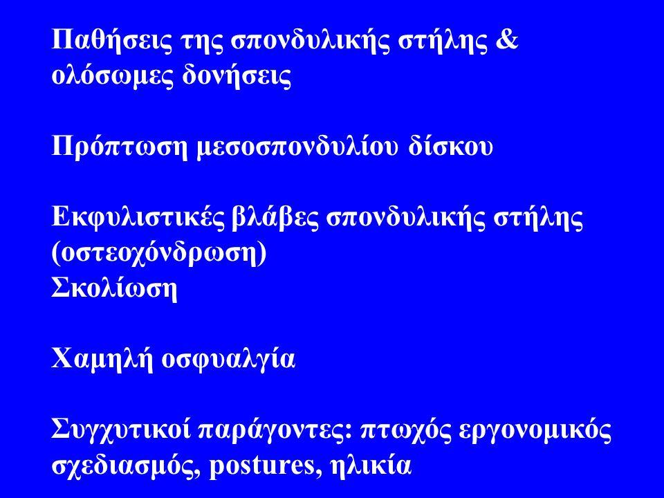 Παθήσεις της σπονδυλικής στήλης & ολόσωμες δονήσεις Πρόπτωση μεσοσπονδυλίου δίσκου Εκφυλιστικές βλάβες σπονδυλικής στήλης (οστεοχόνδρωση) Σκολίωση Χαμηλή οσφυαλγία Συγχυτικοί παράγοντες: πτωχός εργονομικός σχεδιασμός, postures, ηλικία