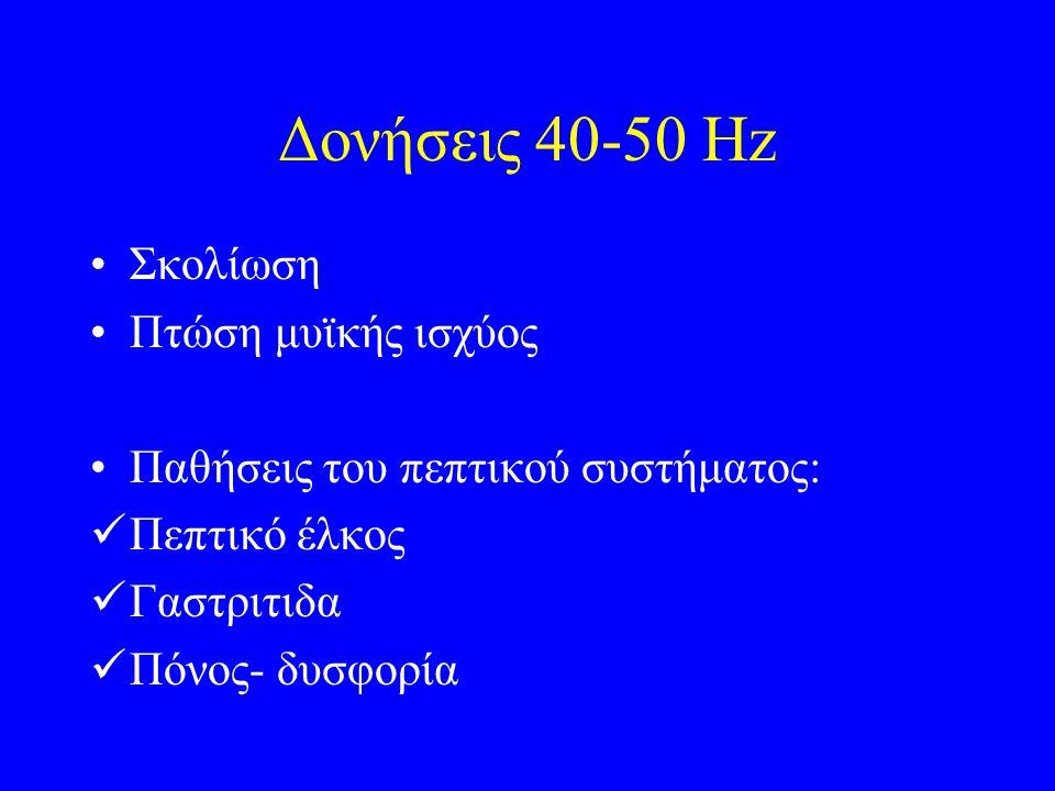 Δονήσεις 40-50 Hz Σκολίωση Πτώση μυϊκής ισχύος Παθήσεις του πεπτικού συστήματος: Πεπτικό έλκος Γαστριτιδα Πόνος- δυσφορία