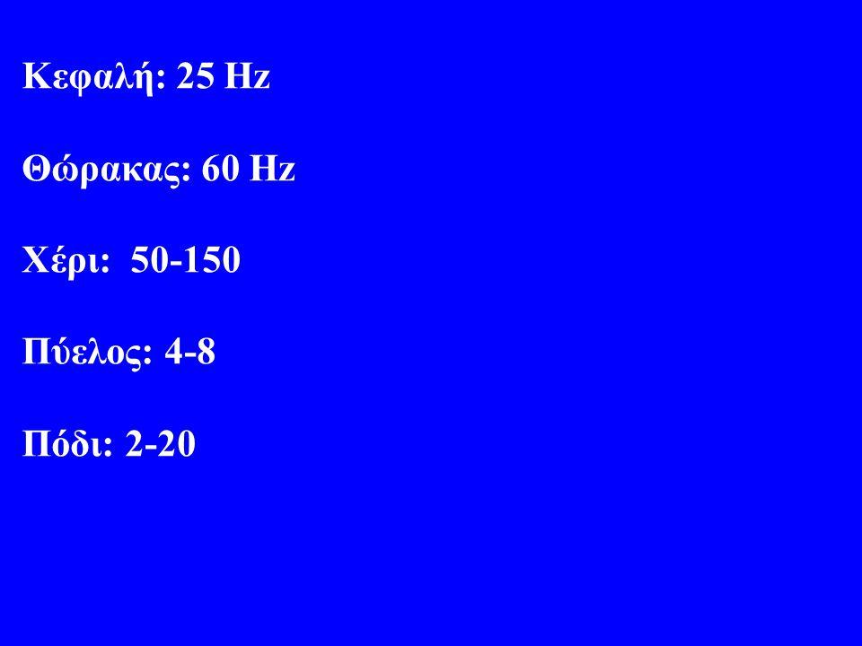 Κεφαλή: 25 Hz Θώρακας: 60 Hz Xέρι: 50-150 Πύελος: 4-8 Πόδι: 2-20