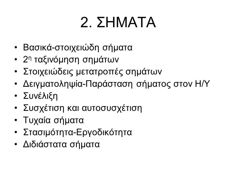 2. ΣΗΜΑΤΑ Βασικά-στοιχειώδη σήματα 2 η ταξινόμηση σημάτων Στοιχειώδεις μετατροπές σημάτων Δειγματοληψία-Παράσταση σήματος στον Η/Υ Συνέλιξη Συσχέτιση