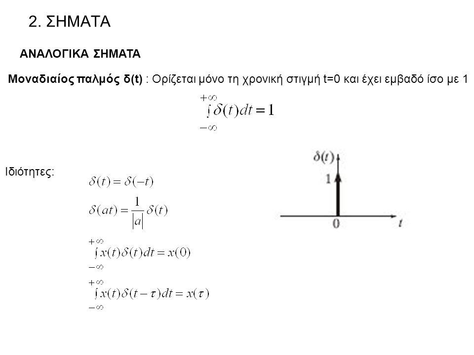 2. ΣΗΜΑΤΑ ΑΝΑΛΟΓΙΚΑ ΣΗΜΑΤΑ Μοναδιαίος παλμός δ(t) : Ορίζεται μόνο τη χρονική στιγμή t=0 και έχει εμβαδό ίσο με 1 Ιδιότητες: