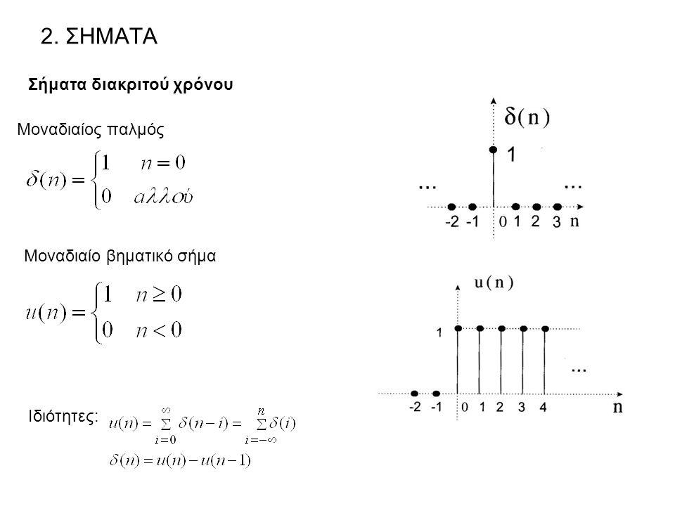 2. ΣΗΜΑΤΑ Σήματα διακριτού χρόνου Μοναδιαίος παλμός Μοναδιαίο βηματικό σήμα Ιδιότητες: