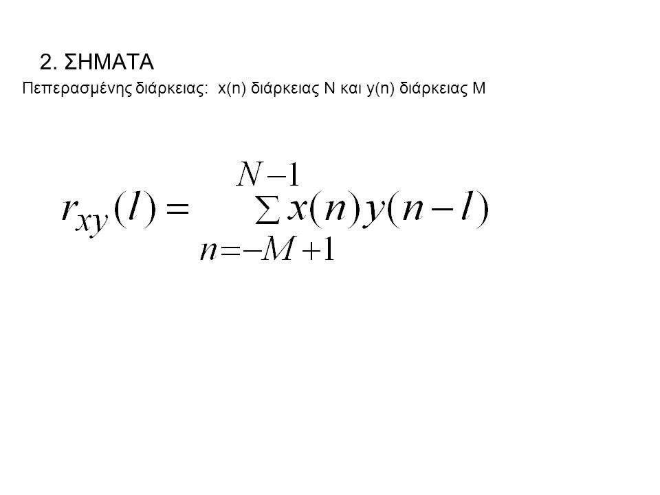 2. ΣΗΜΑΤΑ Πεπερασμένης διάρκειας: x(n) διάρκειας Ν και y(n) διάρκειας Μ