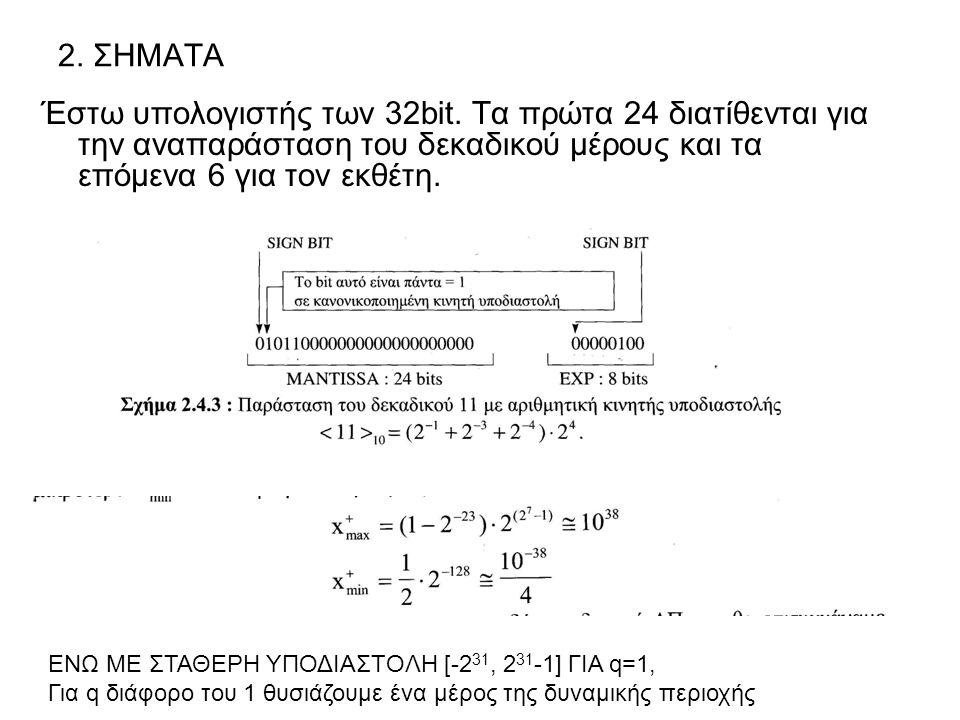 2. ΣΗΜΑΤΑ Έστω υπολογιστής των 32bit. Τα πρώτα 24 διατίθενται για την αναπαράσταση του δεκαδικού μέρους και τα επόμενα 6 για τον εκθέτη. ΕΝΩ ΜΕ ΣΤΑΘΕΡ