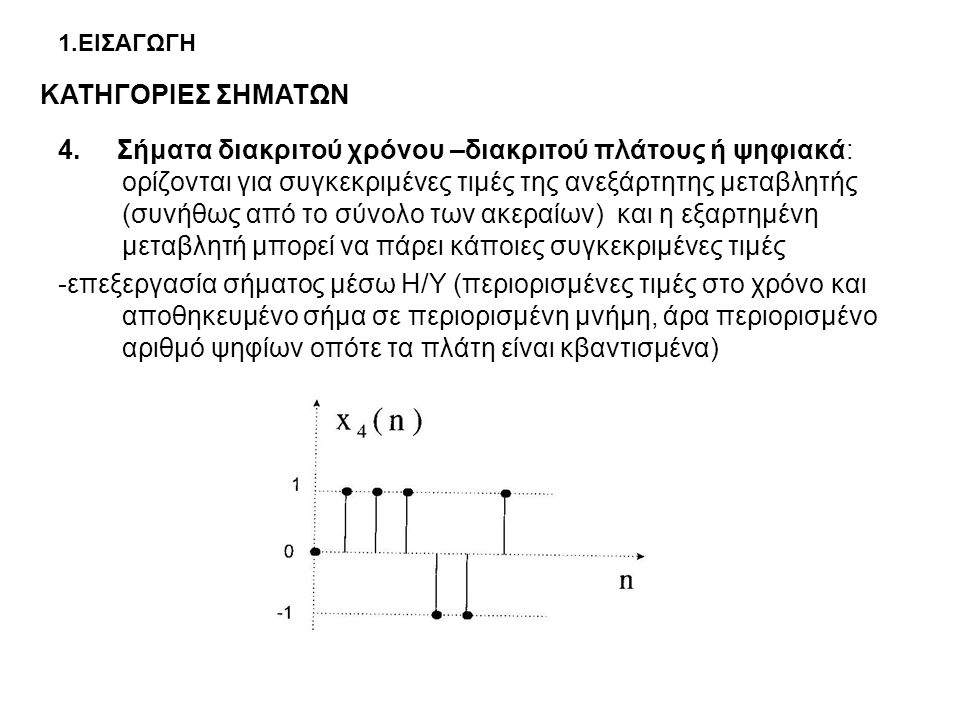 1.ΕΙΣΑΓΩΓΗ 4. Σήματα διακριτού χρόνου –διακριτού πλάτους ή ψηφιακά: ορίζονται για συγκεκριμένες τιμές της ανεξάρτητης μεταβλητής (συνήθως από το σύνολ