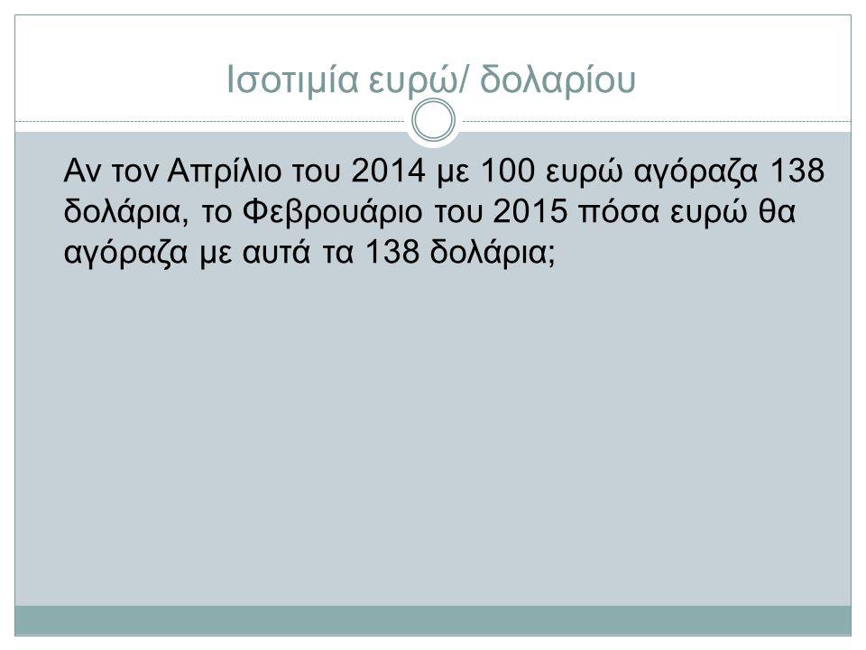 Αν τον Απρίλιο του 2014 με 100 ευρώ αγόραζα 138 δολάρια, το Φεβρουάριο του 2015 πόσα ευρώ θα αγόραζα με αυτά τα 138 δολάρια;