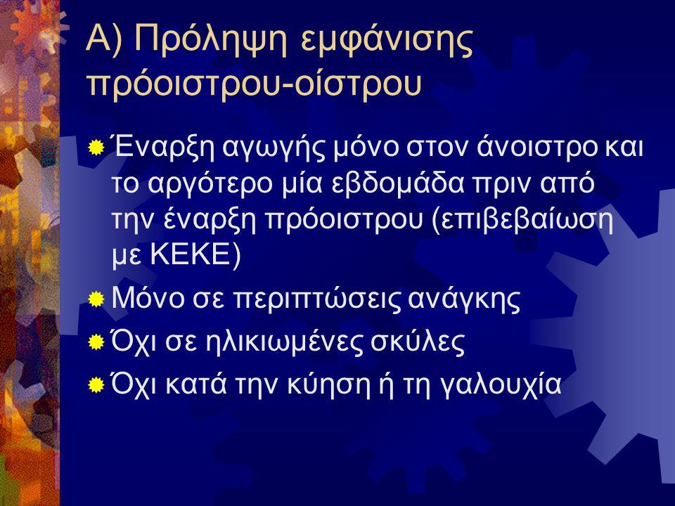 Α) Πρόληψη εμφάνισης πρόοιστρου-οίστρου  Έναρξη αγωγής μόνο στον άνοιστρο και το αργότερο μία εβδομάδα πριν από την έναρξη πρόοιστρου (επιβεβαίωση με