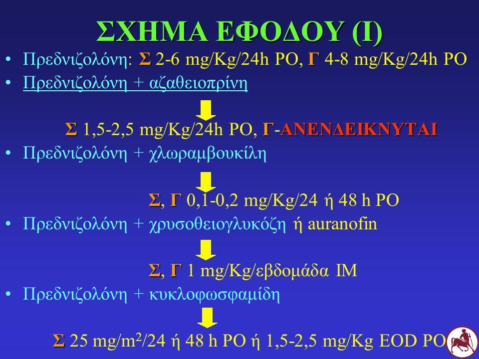ΣΧΗΜΑ ΕΦΟΔΟΥ (I) ΣΓΠρεδνιζολόνη: Σ 2-6 mg/Kg/24h PO, Γ 4-8 mg/Kg/24h PO Πρεδνιζολόνη + αζαθειοπρίνη ΣΓΑΝΕΝΔΕΙΚΝΥΤΑΙ Σ 1,5-2,5 mg/Kg/24h PO, Γ-ΑΝΕΝΔΕΙΚΝΥΤΑΙ Πρεδνιζολόνη + χλωραμβουκίλη ΣΓ Σ, Γ 0,1-0,2 mg/Kg/24 ή 48 h PO Πρεδνιζολόνη + χρυσοθειογλυκόζη ή auranofin ΣΓ Σ, Γ 1 mg/Kg/εβδομάδα ΙΜ Πρεδνιζολόνη + κυκλοφωσφαμίδη Σ Σ 25 mg/m 2 /24 ή 48 h PO ή 1,5-2,5 mg/Kg EOD PO