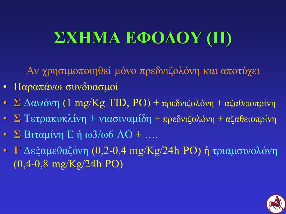 ΣΧΗΜΑ ΕΦΟΔΟΥ (II) Αν χρησιμοποιηθεί μόνο πρεδνιζολόνη και αποτύχει Παραπάνω συνδυασμοί ΣΣ Δαψόνη (1 mg/Kg TID, PO) + πρεδνιζολόνη + αζαθειοπρίνη ΣΣ Τετρακυκλίνη + νιασιναμίδη + πρεδνιζολόνη + αζαθειοπρίνη ΣΣ Βιταμίνη Ε ή ω3/ω6 ΛΟ + ….