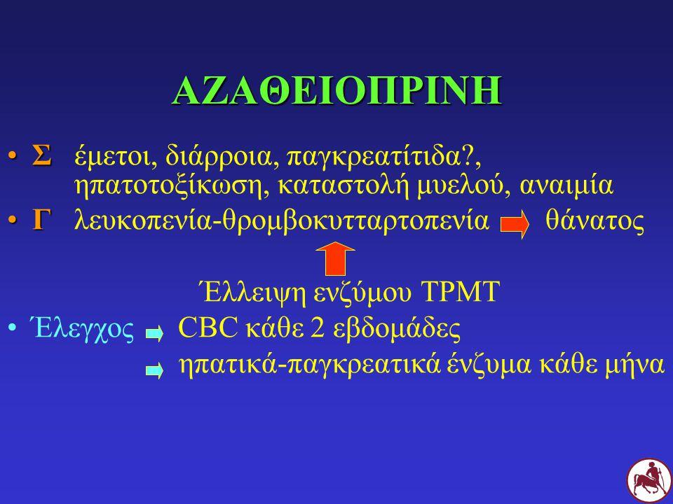 ΑΖΑΘΕΙΟΠΡΙΝΗ ΣΣέμετοι, διάρροια, παγκρεατίτιδα?, ηπατοτοξίκωση, καταστολή μυελού, αναιμία ΓΓλευκοπενία-θρομβοκυτταρτοπενίαθάνατος Έλλειψη ενζύμου ΤΡΜΤ