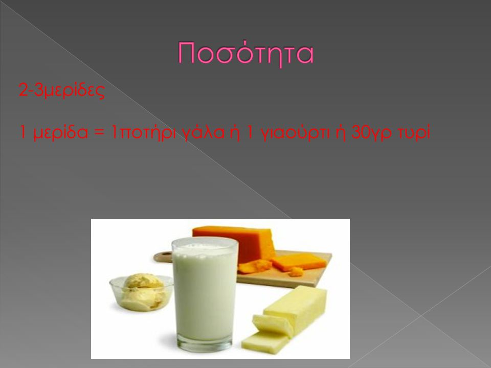 2-3μερίδες 1 μερίδα = 1ποτήρι γάλα ή 1 γιαούρτι ή 30γρ τυρί