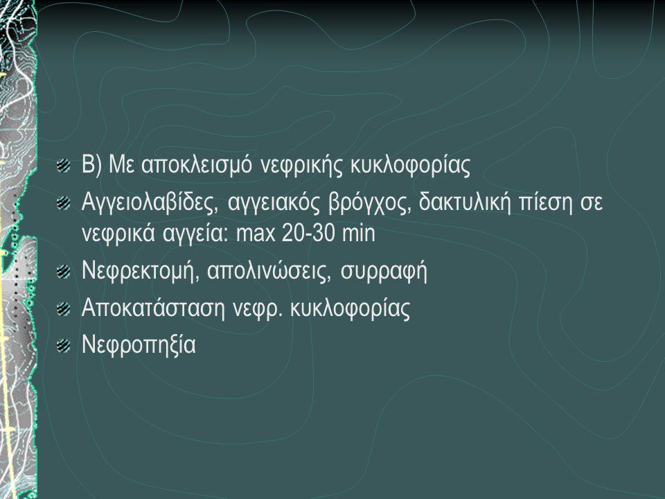 Β) Με αποκλεισμό νεφρικής κυκλοφορίας Αγγειολαβίδες, αγγειακός βρόγχος, δακτυλική πίεση σε νεφρικά αγγεία: max 20-30 min Νεφρεκτομή, απολινώσεις, συρραφή Αποκατάσταση νεφρ.