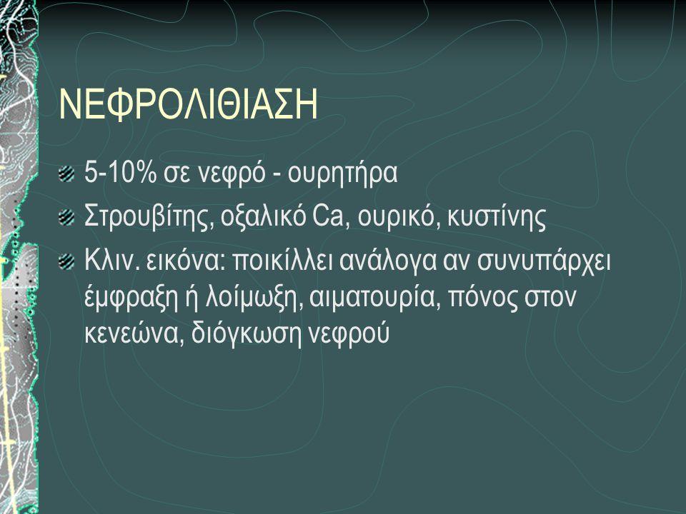 ΝΕΦΡΟΛΙΘΙΑΣΗ 5-10% σε νεφρό - ουρητήρα Στρουβίτης, οξαλικό Ca, ουρικό, κυστίνης Κλιν.