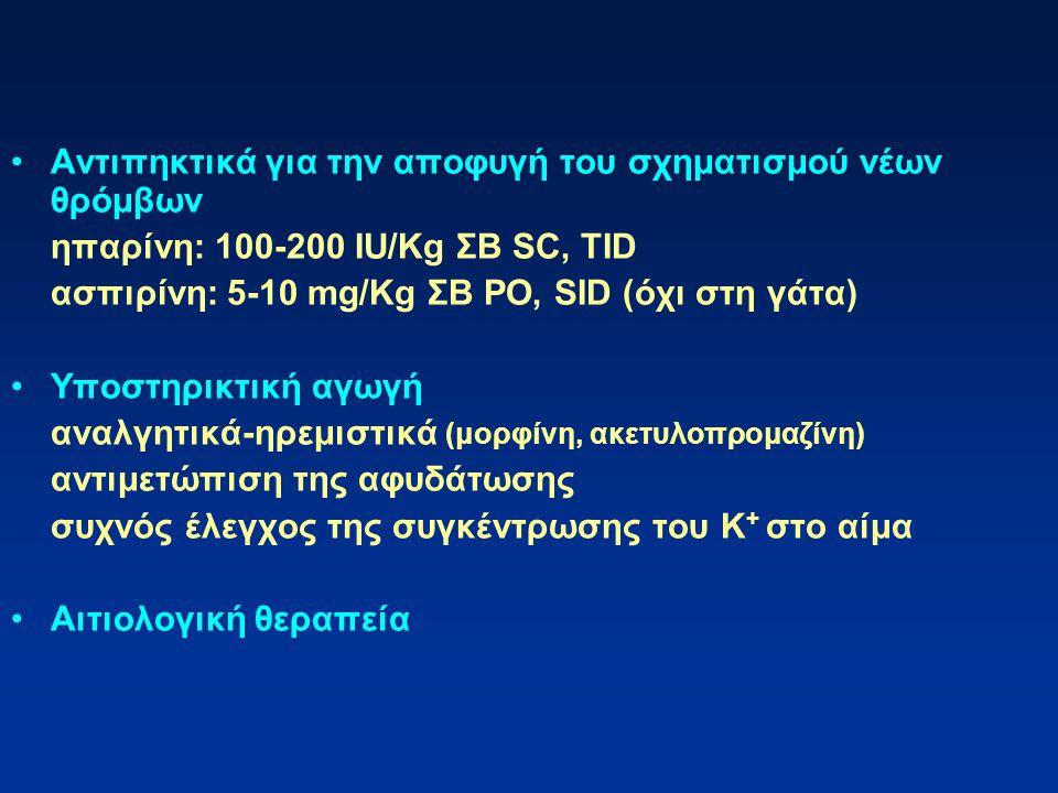 Αντιπηκτικά για την αποφυγή του σχηματισμού νέων θρόμβων ηπαρίνη: 100-200 IU/Kg ΣΒ SC, TID ασπιρίνη: 5-10 mg/Kg ΣΒ PO, SID (όχι στη γάτα) Υποστηρικτικ