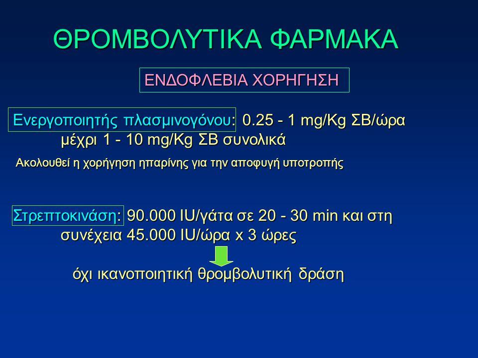 Ενεργοποιητής πλασμινογόνου: 0.25 - 1 mg/Kg ΣΒ/ώρα μέχρι 1 - 10 mg/Kg ΣΒ συνολικά Στρεπτοκινάση: 90.000 IU/γάτα σε 20 - 30 min και στη συνέχεια 45.000