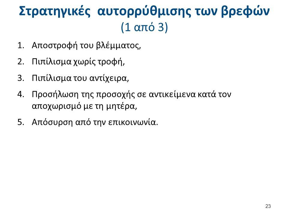 Στρατηγικές αυτορρύθμισης των βρεφών (1 από 3) 1.Αποστροφή του βλέμματος, 2.Πιπίλισμα χωρίς τροφή, 3.Πιπίλισμα του αντίχειρα, 4.Προσήλωση της προσοχής