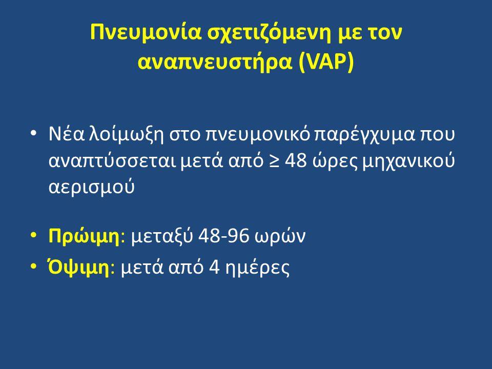 Πνευμονία σχετιζόμενη με τον αναπνευστήρα (VAP) Νέα λοίμωξη στο πνευμονικό παρέγχυμα που αναπτύσσεται μετά από ≥ 48 ώρες μηχανικού αερισμού Πρώιμη: μεταξύ 48-96 ωρών Όψιμη: μετά από 4 ημέρες