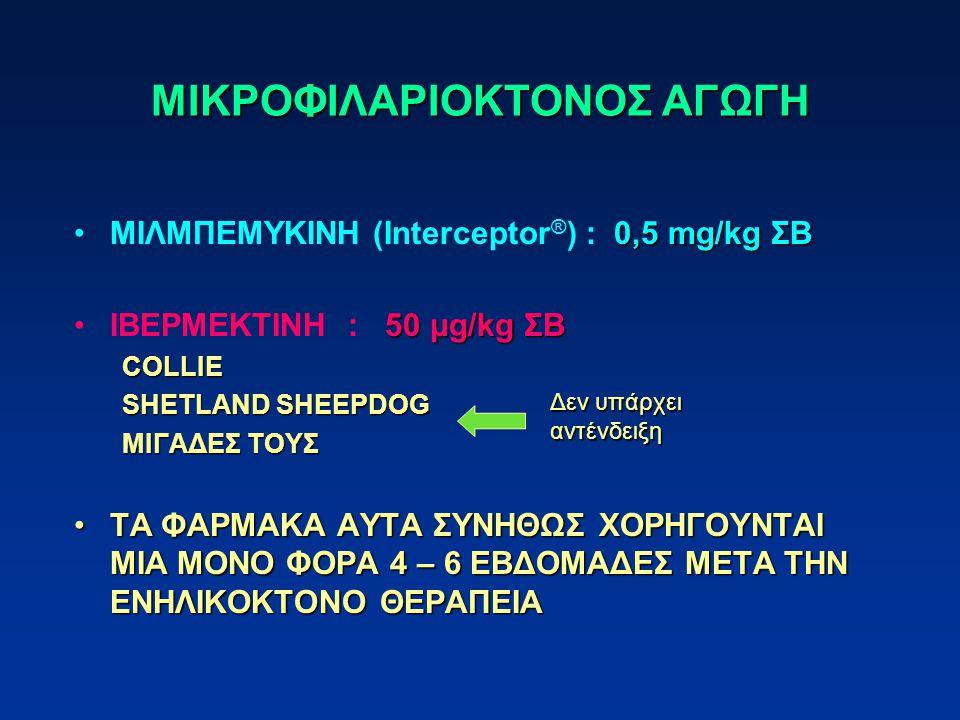 ΜΙΚΡΟΦΙΛΑΡΙΟΚΤΟΝΟΣ ΑΓΩΓΗ 0,5 mg/kg ΣΒΜΙΛΜΠΕΜΥΚΙΝΗ (Interceptor ® ) : 0,5 mg/kg ΣΒ 50 μg/kg ΣΒΙΒΕΡΜΕΚΤΙΝΗ : 50 μg/kg ΣΒCOLLIE SHETLAND SHEEPDOG ΜΙΓΑΔΕΣ