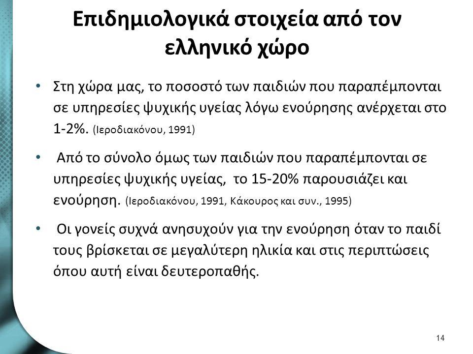 Επιδημιολογικά στοιχεία από τον ελληνικό χώρο Στη χώρα μας, το ποσοστό των παιδιών που παραπέμπονται σε υπηρεσίες ψυχικής υγείας λόγω ενούρησης ανέρχε