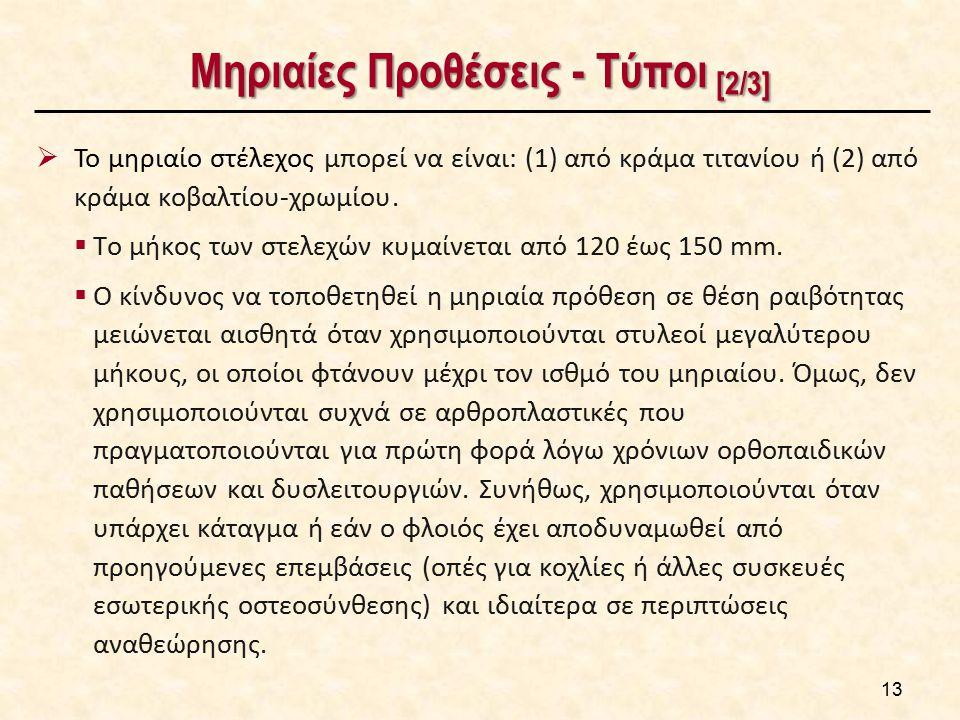 Μηριαίες Προθέσεις - Τύποι [2/3]  Το μηριαίο στέλεχος μπορεί να είναι: (1) από κράμα τιτανίου ή (2) από κράμα κοβαλτίου-χρωμίου.  Το μήκος των στελε