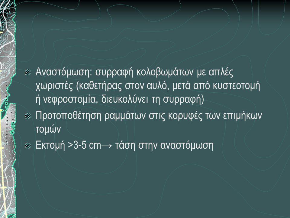 Αναστόμωση: συρραφή κολοβωμάτων με απλές χωριστές (καθετήρας στον αυλό, μετά από κυστεοτομή ή νεφροστομία, διευκολύνει τη συρραφή) Προτοποθέτηση ραμμά