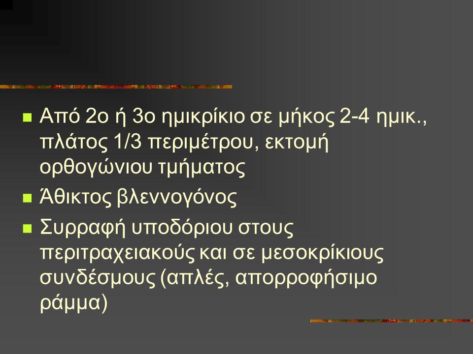 Από 2ο ή 3ο ημικρίκιο σε μήκος 2-4 ημικ., πλάτος 1/3 περιμέτρου, εκτομή ορθογώνιου τμήματος Άθικτος βλεννογόνος Συρραφή υποδόριου στους περιτραχειακού