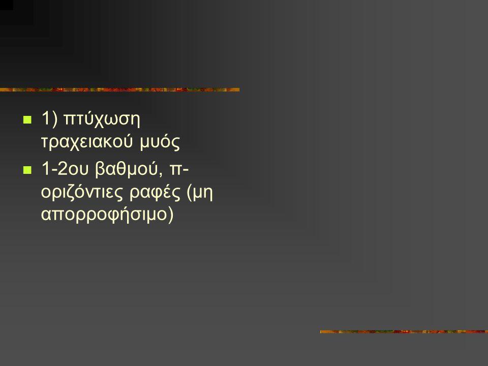 1) πτύχωση τραχειακού μυός 1-2ου βαθμού, π- οριζόντιες ραφές (μη απορροφήσιμο)
