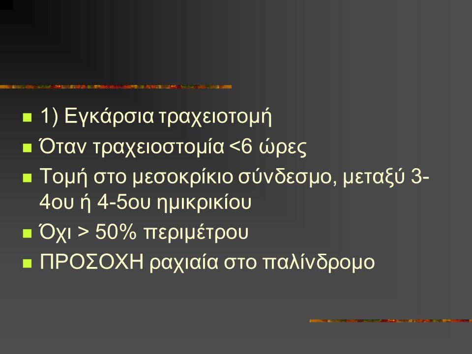 1) Εγκάρσια τραχειοτομή Όταν τραχειοστομία <6 ώρες Τομή στο μεσοκρίκιο σύνδεσμο, μεταξύ 3- 4ου ή 4-5ου ημικρικίου Όχι > 50% περιμέτρου ΠΡΟΣΟΧΗ ραχιαία