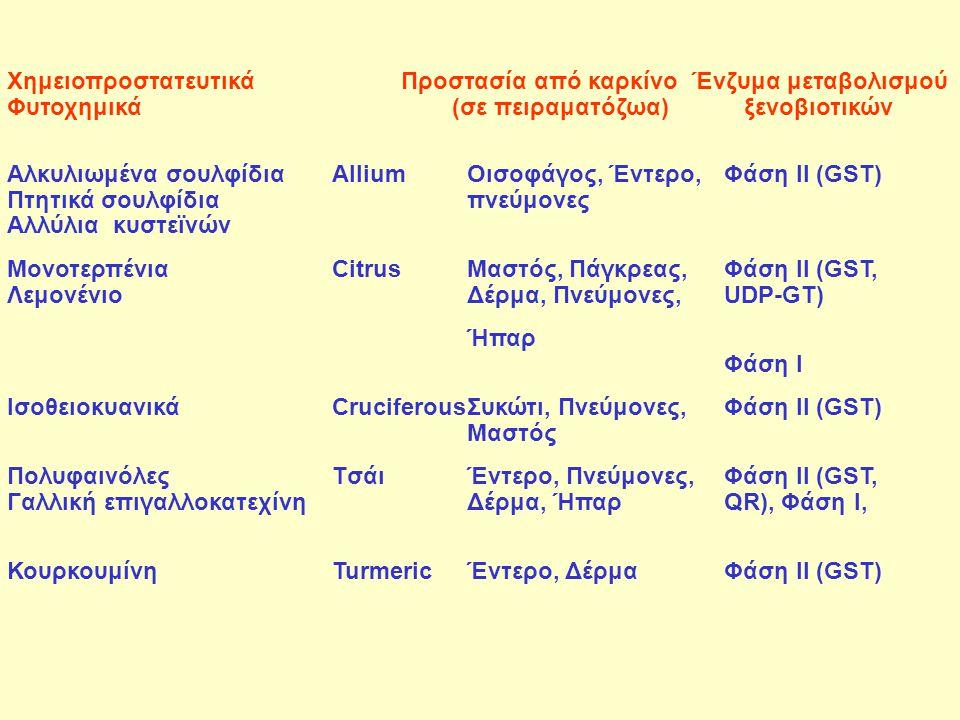 Χημειοπροστατευτικά Προστασία από καρκίνο Ένζυμα μεταβολισμού Φυτοχημικά (σε πειραματόζωα) ξενοβιοτικών Αλκυλιωμένα σουλφίδιαAlliumΟισοφάγος, Έντερο,
