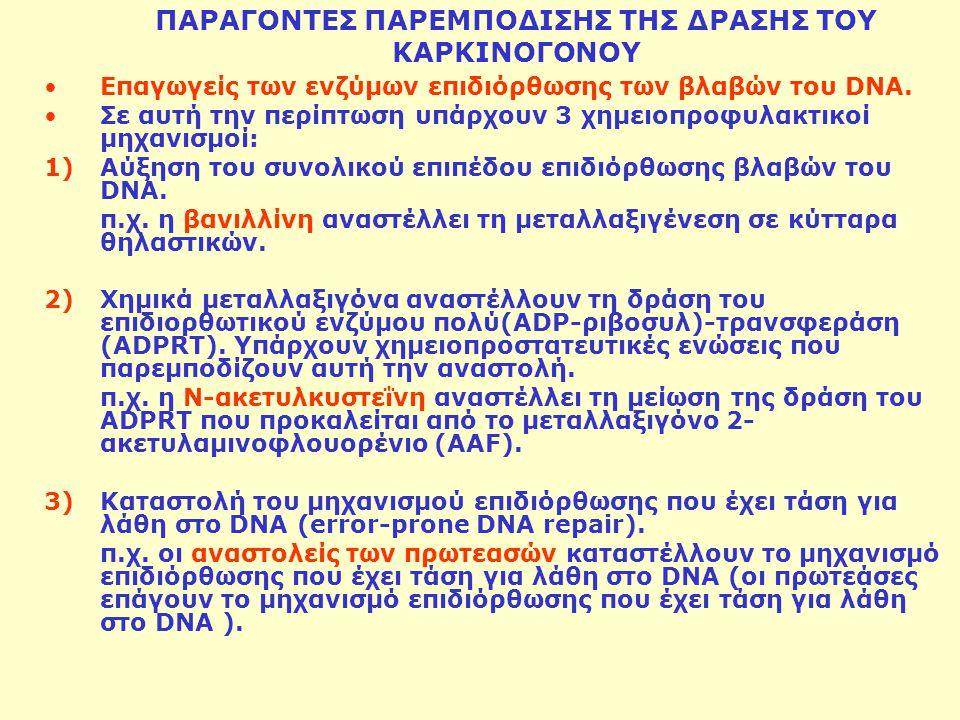 ΠΑΡΑΓΟΝΤΕΣ ΠΑΡΕΜΠΟΔΙΣΗΣ ΤΗΣ ΔΡΑΣΗΣ ΤΟΥ ΚΑΡΚΙΝΟΓΟΝΟΥ Επαγωγείς των ενζύμων επιδιόρθωσης των βλαβών του DNA. Σε αυτή την περίπτωση υπάρχουν 3 χημειοπροφ