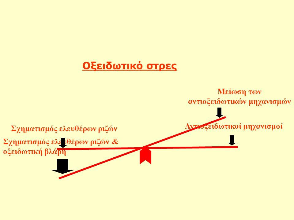 Σχηματισμός ελευθέρων ριζών & οξειδωτική βλάβη Μείωση των αντιοξειδωτικών μηχανισμών Οξειδωτικό στρες Αντιοξειδωτικοί μηχανισμοί Σχηματισμός ελευθέρων