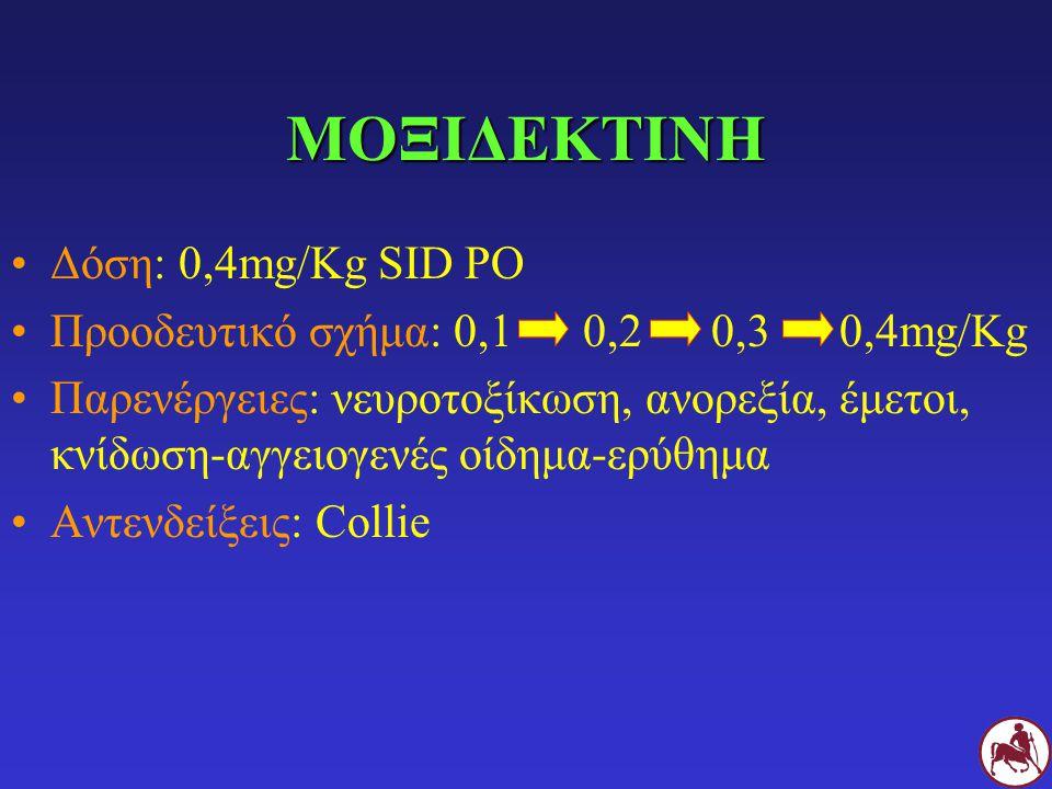 ΜΟΞΙΔΕΚΤΙΝΗ Δόση: 0,4mg/Kg SID PO Προοδευτικό σχήμα: 0,1 0,2 0,3 0,4mg/Kg Παρενέργειες: νευροτοξίκωση, ανορεξία, έμετοι, κνίδωση-αγγειογενές οίδημα-ερ