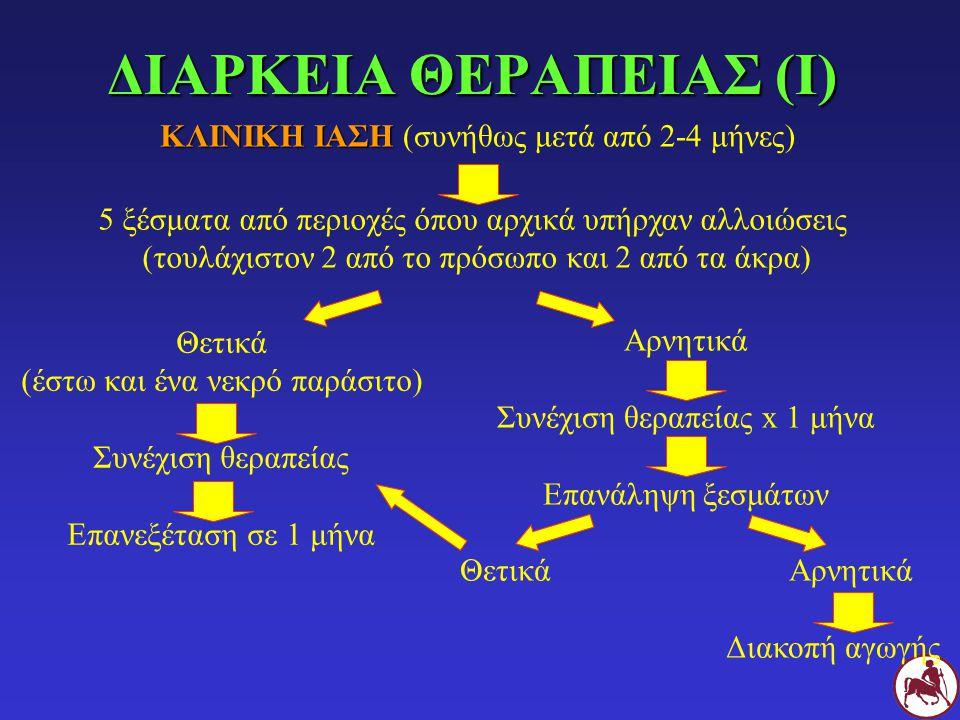 ΔΙΑΡΚΕΙΑ ΘΕΡΑΠΕΙΑΣ (Ι) ΚΛΙΝΙΚΗ ΙΑΣΗ ΚΛΙΝΙΚΗ ΙΑΣΗ (συνήθως μετά από 2-4 μήνες) 5 ξέσματα από περιοχές όπου αρχικά υπήρχαν αλλοιώσεις (τουλάχιστον 2 από