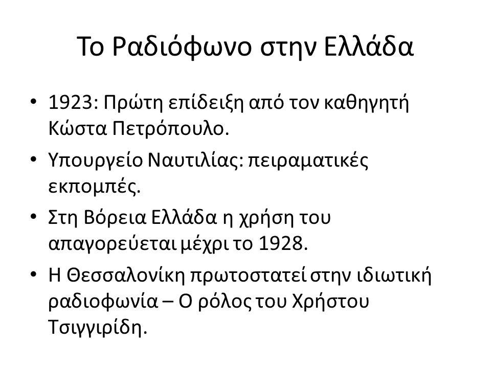 Το Ραδιόφωνο στην Ελλάδα 1923: Πρώτη επίδειξη από τον καθηγητή Κώστα Πετρόπουλο. Υπουργείο Ναυτιλίας: πειραματικές εκπομπές. Στη Βόρεια Ελλάδα η χρήση