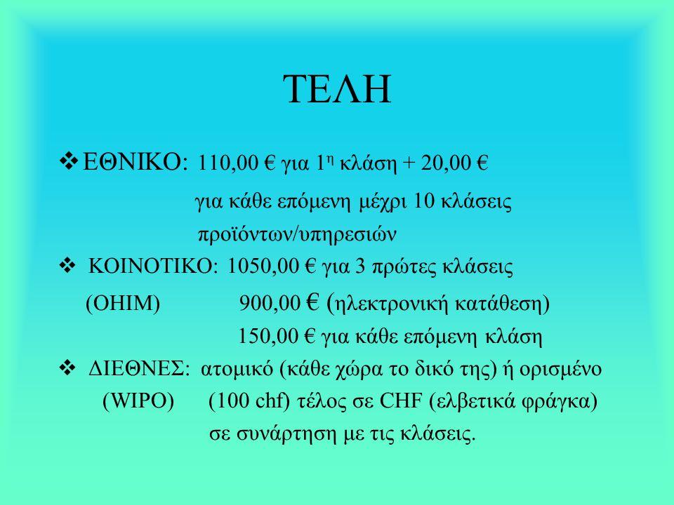 ΤΕΛΗ  ΕΘΝΙΚΟ: 110,00 € για 1 η κλάση + 20,00 € για κάθε επόμενη μέχρι 10 κλάσεις προϊόντων/υπηρεσιών  ΚΟΙΝΟΤΙΚΟ: 1050,00 € για 3 πρώτες κλάσεις (OHI
