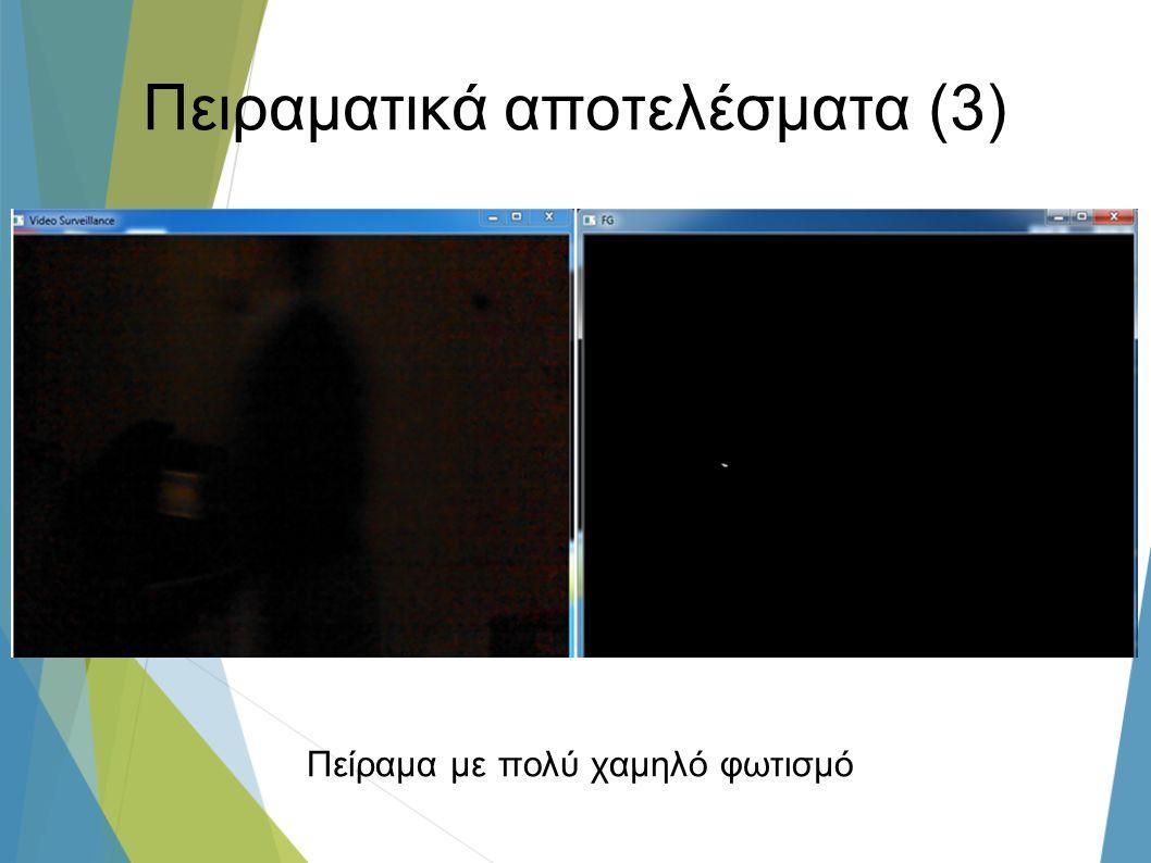Πειραματικά αποτελέσματα (3) Πείραμα με πολύ χαμηλό φωτισμό