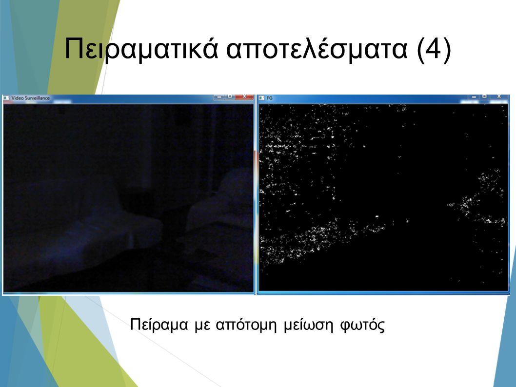 Πειραματικά αποτελέσματα (4) Πείραμα με απότομη μείωση φωτός